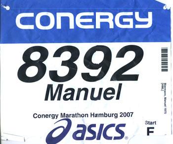 Startnummer Hamburg Marathon